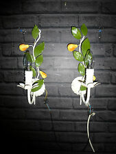 A PAIR OF VINTAGE FRENCH SHABBY CHIC  TOLEWARE WALL LIGHTS