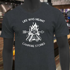 LIFE MEANT FOR CAMPFIRE STORIES CAMPING OUTDOORS Mens Charcoal V-Neck T-Shirt