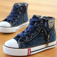 Hot Children's Denim Canvas Shoes Boys Girls High Top Sneakers Kids Casual Shoes