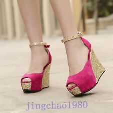 Sexy Women Sandals shoes Wedges High heels Open toe Ankle strappy Nightclub NEW