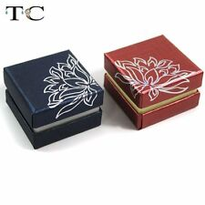 50pcs Red Blue Paper Earring Studs Case Jewelry Packing Gift Holder Ring Box
