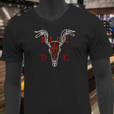 RIDE OR DIE BIKER SKULL BIKE COW MOTORCYCLE RIDER Mens Black V-Neck T-Shirt