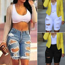 Plus Size Summer Women's Ripped Jeans Denim Pedal Pusher Middle Skinny Pants New