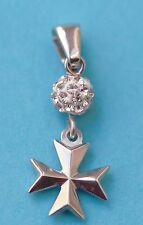 NEW 925 Sterling Silver Order Of St.John Maltese Cross Pendant with stone