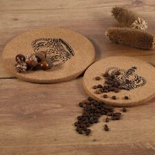 Cork Wood Coaster Cup Mat Flexible Heat Resistant Round Drinks Mat-Crown BE