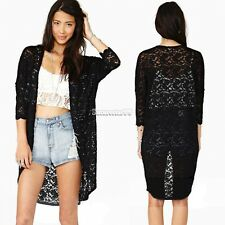 Women Lace Sheer Sleeve Floral Crochet long Tee Top Blouse Cardigan hollow FT