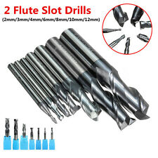 2 Flutes Solid Carbide Mill Cutter Slot Drill TiAlN Coated 2/3/4/6/8/ 10/12mm ~~