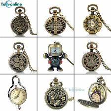 Antique Steampunk Pocket Watch Womens Mens Quartz Pendant Necklace Vintage New
