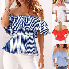New Fashion Womens Off Shoulder Tops Shirt Strapless Casual Blouse Loose T-shirt