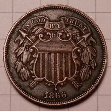 1866 TWO CENT PIECE - LIGHTLY CIRCULATED WITH FULL MOTTO, DARKER PATINA!