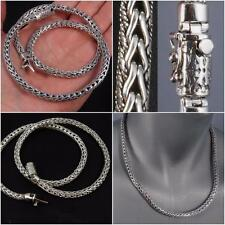 "ARTISAN HEAVY WOVEN BRAIDED MENS NECKLACE CHAIN 925 STERLING SILVER 20"" 22"""