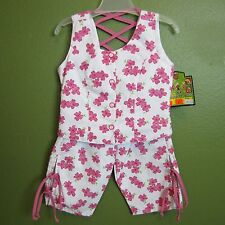Girls Outfit Sleeveless Top and Capris White Pink Flowers Beatrice Rueda New