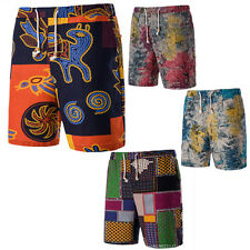 Men Flax Baggy Beach Floral Casual Cargo Shorts Sports Trousers Trunks Pants