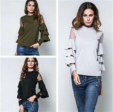 Women New Style Tops Small Net Yarn Sleeve Splicing Trumpet Sleeve Shirt Blouse