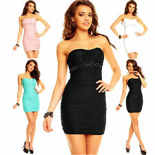 Sexy Top women clubbing bandeau mini dress Ladies Beaded party Blouse Size S M L