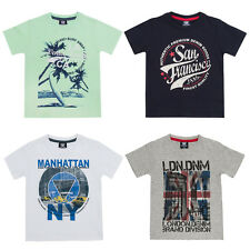 Boys Cotton T Shirt Kids Vintage Retro USA London Print Summer Holiday Top 2-13
