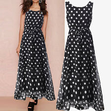 Women Sleeveless Polka Dots Long Cocktail Maxi Boho Beach Sundress Party Dress .
