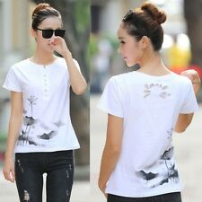 Women T Shirt Basic Chinese Ink Painting Lotus Short Sleeve Tops