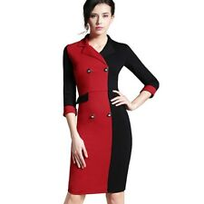 Women Fitted Dress Casual Notch Colorblock Stylish Chic Pencil Dress