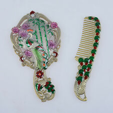2pcs Oriental  Vintage Mirror And Comb Set Hand Held Mirrors Xmas Gift For Lady