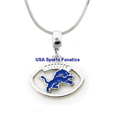 NFL Detroit Lions Football Logo Pendant Necklace On A 925 Snake Chain