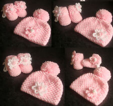 Hand Knitted Cute Baby Girl Pink Bobble Flower Hat & Booties - Newborn 0-3 mth