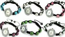 SHAMBALLA CRYSTAL DISCO BALL WATCH BRACELET SHAMBALA SILVER OR PINK WATCHES GIFT