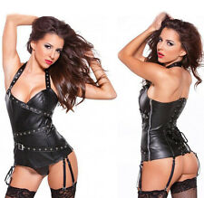 Sexy Womens Faux leather Adjustable Zipper Open Tight Corset Bustiers Lingerie