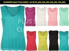 NEW WOMENS LADIES PLUS SIZE FLORAL LACE LINED CROCHET SLEEVELESS V-NECK VEST TOP