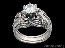 Nenya Galadriel's Ring of Power with 2 Tracer Bands 14k White Gold LOTR