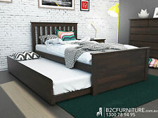 Modern King Single size bed with trundle,Hardwood Timber in White or Chocolate