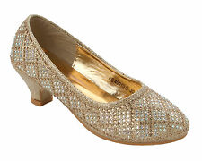 GIRLS GOLD GLITTER DIAMANTE BRIDESMAID PARTY WEDDING LOW HEEL SHOES SIZE 10-2