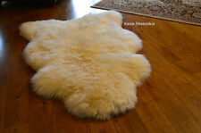 XXXL Ivory White-Cream Natural Sheepskin Rug Real Fur Lambskin pelts