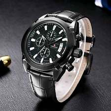 New Mens Wrist Quartz Watch Black Brown Leather Band Stainless Date Analog Sport