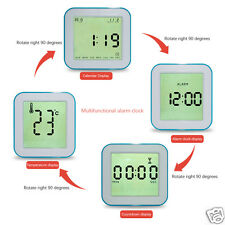 Portable Four-Sided Digital Rotate LCD Clock As Timer Alarm Calendar Thermometer