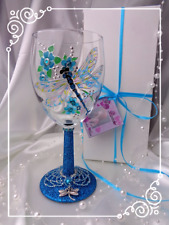 Personalised Turquoise Glitter Dragonfly Wine Glass Hand Painted Gift Wrapped