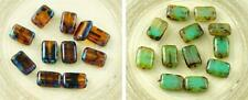 8pcs Picasso Rustic Table Cut Flat Rectangle Czech Glass Beads 12mm x 8mm