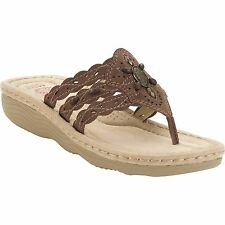Earth Spirit US Shoes Size Women Sandal Casual Slip On Brown New Leather Suede