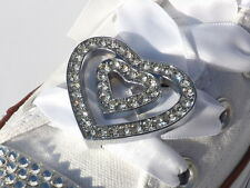 Double Crystal Heart Shoe Charms & Pair of White Ribbon Laces for Canvas Pumps