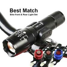 Bike Bicycle Cycling T6 LED Zoomable Adjustable Front Torch + Red Rear Light Set