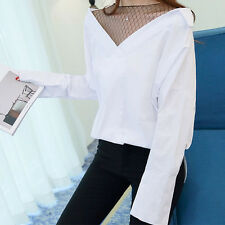 Fashion Korean Spring Women Batwing Sleeve Striped False Two Pieces Shirt Tops