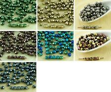 100pcs Metallic Czech Glass Round Faceted Fire Polished Beads Small Spacer 4mm
