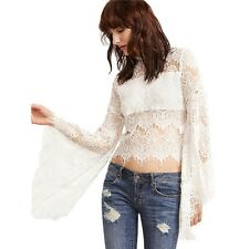 Women White Oversized Sheer Floral Lace Top Flare Sleeve Zipper Blouse