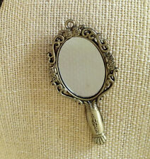 LGL- Antique Bronze or Silver MIRROR Charm Ln348 Steampunk, Midievil, Celtic