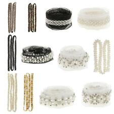 Multi Pearl Beaded Ribbon Lace Trims Sewing Applique Dress Crafts Decoration