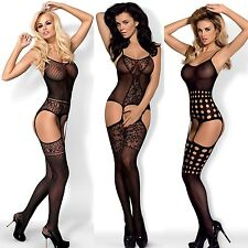 New Ladies Obsessive Bodystocking Lace Negligee Obsessive Catsuit black HIT