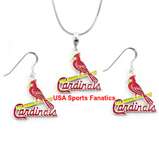 MLB St. Louis Cardinals 925 Sterling Silver Team Logo Necklace & Earring Set
