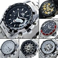 Men Skeleton Date Automatic Watch Sliver Mechanical Sport Wrist Stainless Steel
