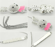 1Pcs Pendant Jewelry Rhinestone Necklace Crystal Chain Pop Girls Enamel Rabbit
