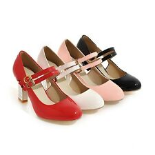 New Thick High Heel Mary Jane Strap Buckle Casual Women's Shoes AU All Size